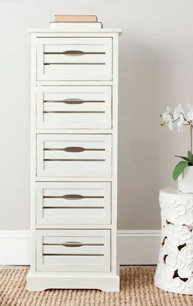 Sarina 5 Drawer Cabinet Distressed Cream
