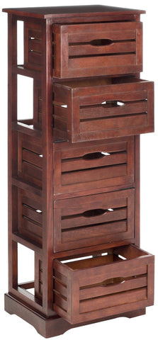 Cabinets - Safavieh AMH5714D Sarina 5 Drawer Cabinet Cherry | 683726403838 | Only $224.80. Buy today at http://www.contemporaryfurniturewarehouse.com