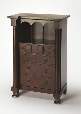Castle Traditional Rectangular Secretary Medium Brown Cabinet