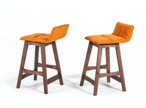 Vig Furniture VGMAMI-574-ORG Modrest Candice Modern Orange & Walnut Bar Stool (Set of 2)