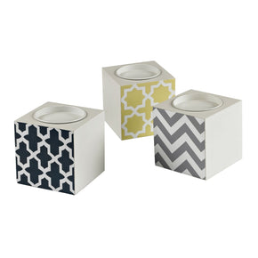 Set Of 3 Chevron Print Candle Holders Holder