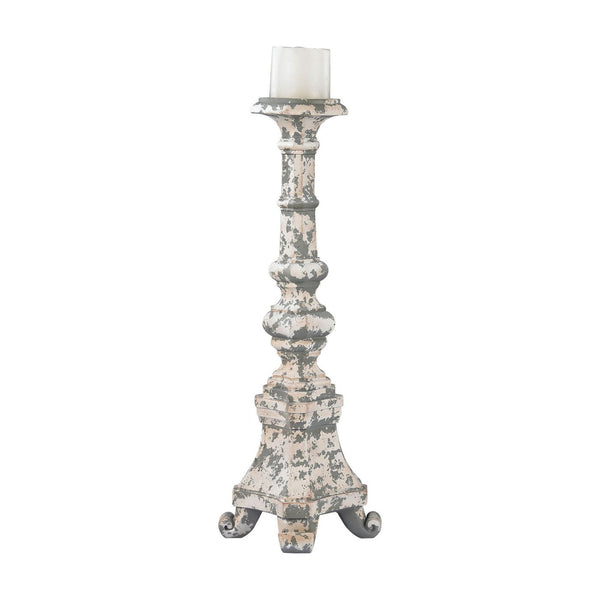 Aged Plaster Candel Holder - Tall Candle