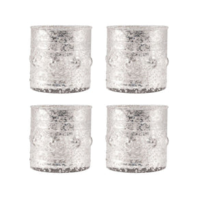Rivet Set Of 4 Votives Antique Silver Artifact Candle Holder