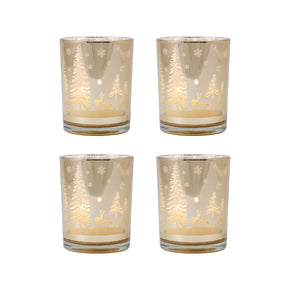 Winter Scene Set Of 4 Pillar Holders Gold Candle Holder