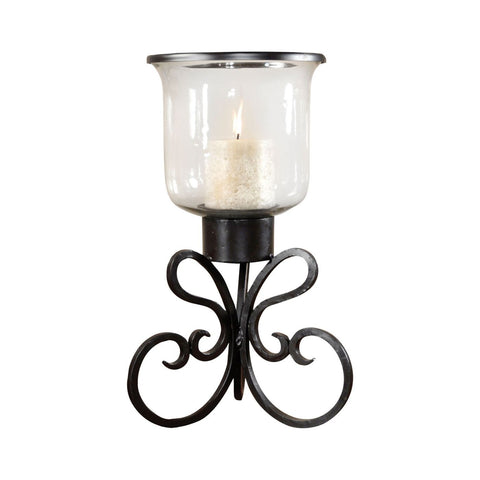 Paisley Hurricane Rustic,clear Candle Holder