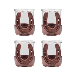 Horse Shoe Set Of 4 Votives Montana Rustic,clear Candle Holder