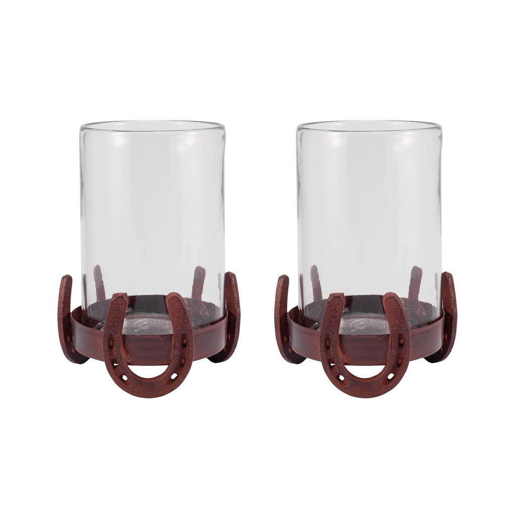 Horse Shoe Set Of 2 Hurricanes Montana Rustic,clear Candle Holder