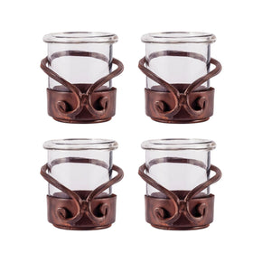 Lasso Set Of 4 Votives Montana Rustic,clear Candle Holder