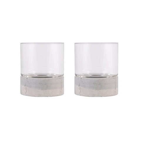 Emerson Set Of 2 Pillar Holders Ash,clear Candle Holder
