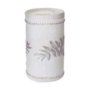 Linen Silver Stitched Fern Votive-L Candle Holder