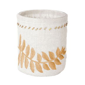 Linen Gold Stitched Fern Votive-Sm Candle Holder