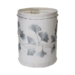 Linen Silver Stitched Ginkgo - Sm Candle Holder