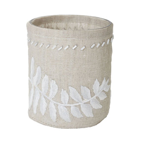 Linen Silver Stitched Fern Votive-S Candle Holder