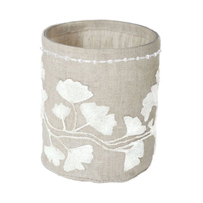 Linen Silver Stitched Ginkgo-Sm Candle Holder