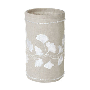 Linen Silver Stitched Ginkgo-Lg Candle Holder