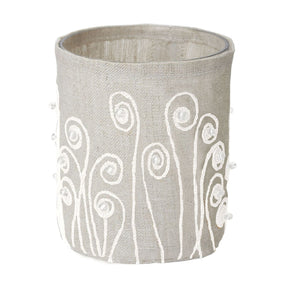 Linen Silver Stitched Fiddle Head-S Candle Holder