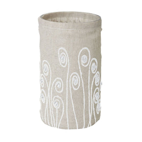 Linen Silver Stitched Fiddle Head-L Candle Holder