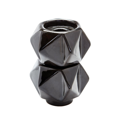 Small Ceramic Star Candle Holders In Black - Set Of 2 Holder