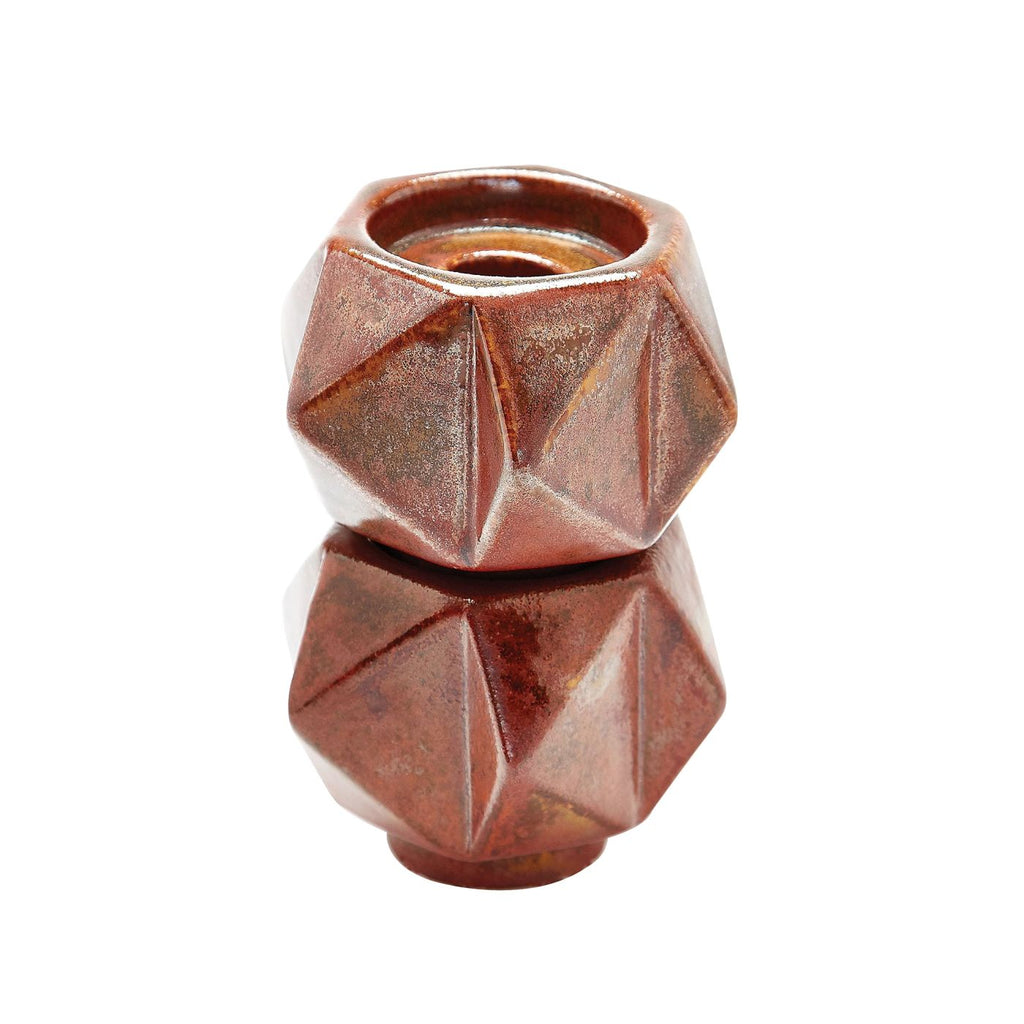 Small Ceramic Star Candle Holders In Russet - Set Of 2 Bronze Holder