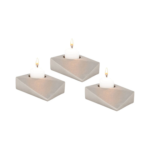 Trope Tea Light Holders - Set Of 3 Dual Tone Nickel Plate Candle Holder