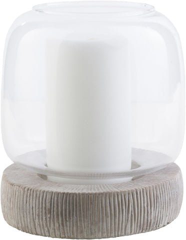 Odette Cottage/country Holder Taupe Ivory Candle