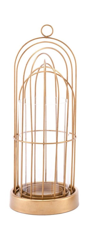 Birdcage Candle Holder Small Gold