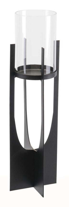 Equis Black Candle Holder Lg