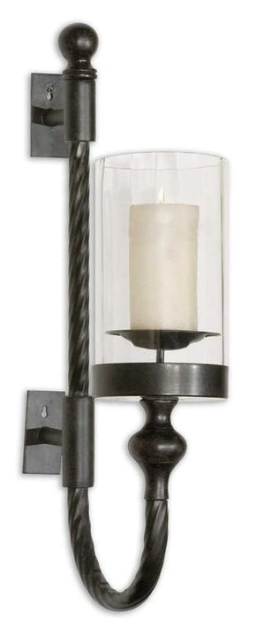 Garvin Twist Metal Sconce With Candle Wall