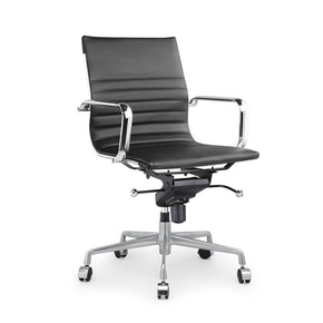 DesignLab MN LS-0009-BLKCRM Decade Black Modern Classic Aluminum Office Chair (Set of 2) 646263991343
