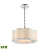 Villoy 3 Light Led Drum Pendant In Polished Stainless Steel And Nickel Steel,polished Ceiling Lamp