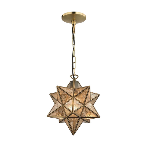 Sirius Gold 10-In Metal Pendant With Antiqued Mercury Glass Gold,antique Ceiling Lamp