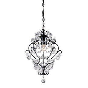 Black Framed And Clear Crystal Mini Pendant Lamp Black,clear Finish Ceiling