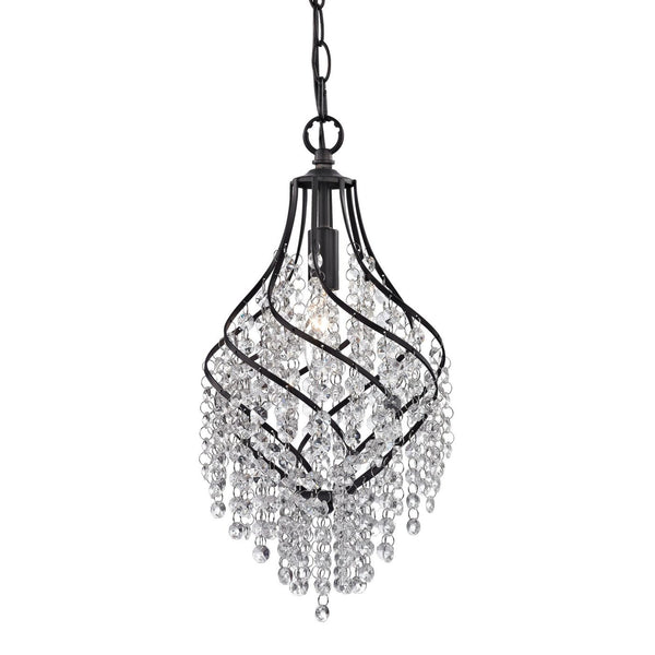 Crystal Drop Pendant Dark Bronze With Clear Ceiling Lamp