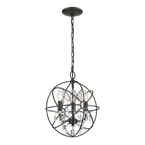 Restoration 3 Light Globe With Crystal Pendant Bronze,clear Ceiling Lamp