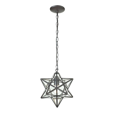 Ceiling Lamps - Elk Group ELK-145-001 Star-1Light Glass Pendant Lamp Clear,Oiled Bronze | 843558082018 | Only $138.60. Buy today at http://www.contemporaryfurniturewarehouse.com