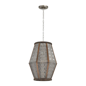 Small Pierced Metalwork Hanging Pendant Nickel With Wood Ceiling Lamp