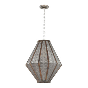 Large Pierced Metalwork Hanging Pendant Nickel With Wood Ceiling Lamp