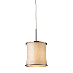 Fabrique 1-Light Drum Pendant In Polished Chrome And Retro Beige Shade Ceiling Lamp