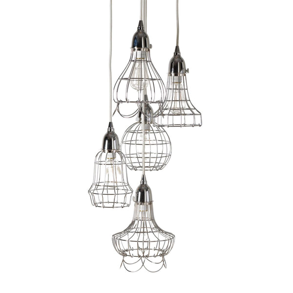 Silver Wire 5 Light Pendant Ceiling Lamp
