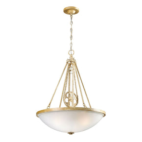 Cog And Chain 3-Light Pendant In Bleached Wood With White Frosted Glass Ceiling Lamp