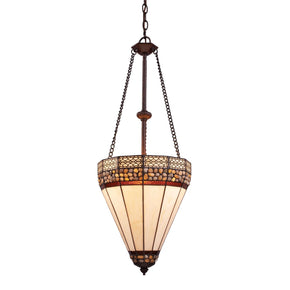 Stone Filigree 3-Light Pendant In Burnished Copper Ceiling Lamp