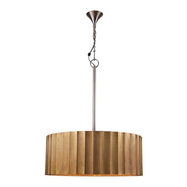 Large Brass Clad Ribbed Pendant Gold Ceiling Lamp