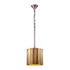 Small Brass Clad Ribbed Pendant Gold Ceiling Lamp