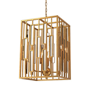 Golden Gate Pendant In Gold Leaf And Clear Mirror Ceiling Lamp