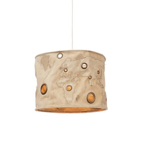 Recycled Canvas World Map Pendant Ceiling Lamp