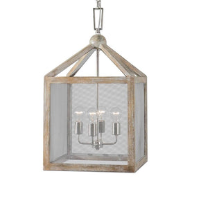 Nashua 4 Light Wooden Lantern Pendant Ceiling Lamp