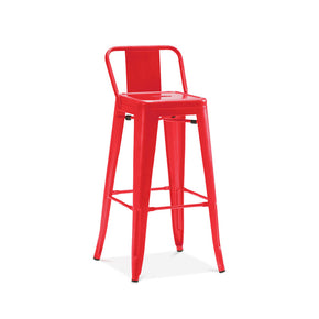 DesignLab MN LS-9102-REDLB Dreux Glossy Red Low Back Steel Counter Stool 26 Inch (Set of 4) 655222619754
