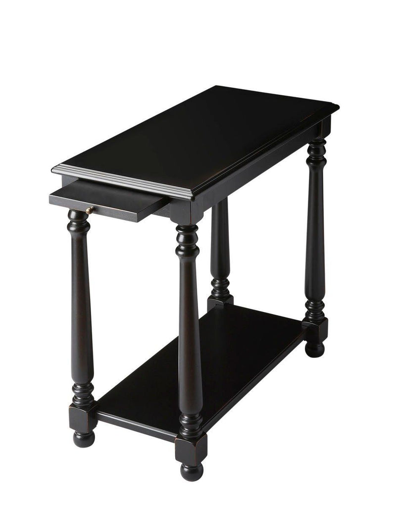 Devane Transitional Rectangular Chairside Table Black Chest