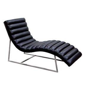 Bardot Chaise Lounge W/ Stainless Steel Frame - Black