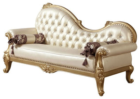 Bennito French Provincial Gold Pearl Leather Chaise Lounge